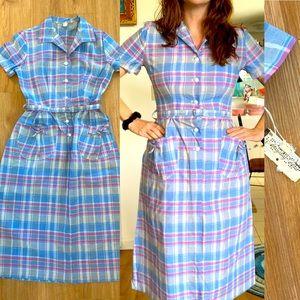 Vintage 1950s 1960s Plaid Cotton Dress